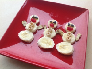 Healthy Fruit Snowman